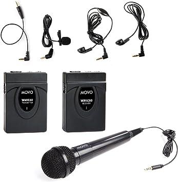 Movo WMIC60 2.4GHz Sistema Inalámbrico Micrófono de Solapa Corbata ...