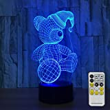 Night Lights for Kids with Remote Controller LED Touch 7 Colors Changing Table Desk Lamp Optical Illusion Light Christmas decorations Acrylic Lamp for Room Decorative Kids Lamp Christmas Lights