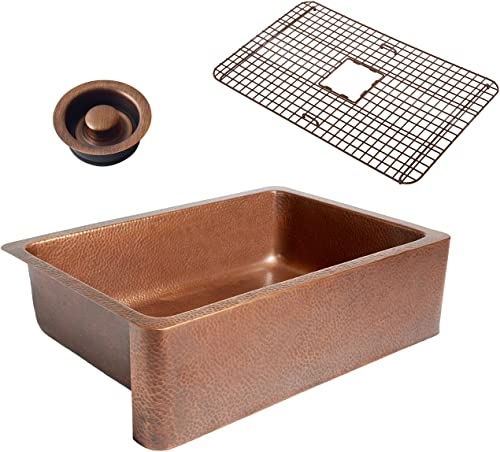 Sinkology K1A-1004-WG-D Adams Grid Combo and Disposal Copper Kitchen Sink