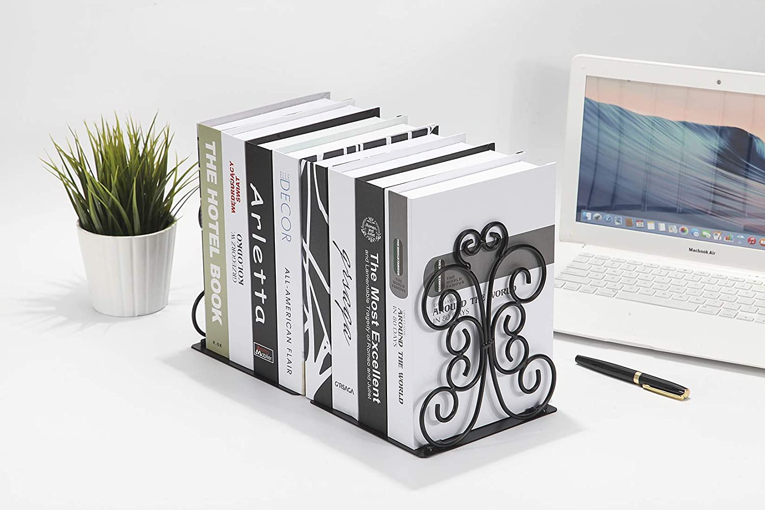 Book Supports with Anti Slip Base Schools L 12 x W 12.6 x H 18.7 cm Nursery and Library Metal Bookends for Children 3 Pairs Bookends Living Room Book Stopper for Shelves - Office