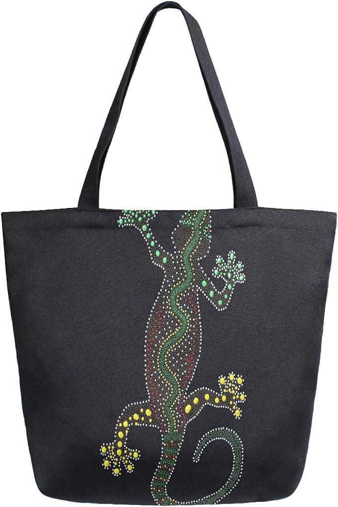 Art Artwork Sac fourre-tout en toile australienne lavable réutilisable pour courses, courses, voyage, pique-nique, école