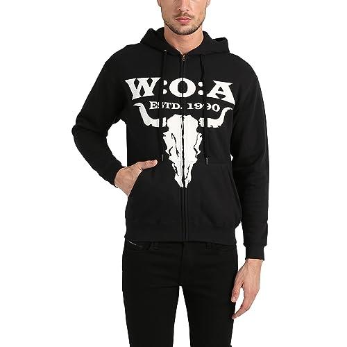 W:O:A – Wacken Open Air Sweat à Capuche zippé pour Homme Einsteiger Classic, Capuche Wacken d'origine, Sweat à Capuche, Noir