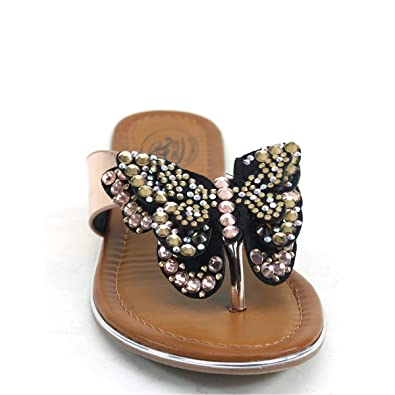 27471d986d033 Fourever Funky Cute Rhinestone Butterfly Flip-Flop Thong Flat Comfort Slide  Women s Sandals  Amazon.co.uk  Shoes   Bags