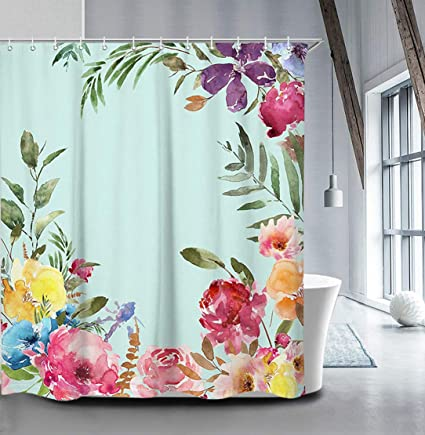 Amazon Livilan Peony Blossom Floral Shower Curtain Set 708 X
