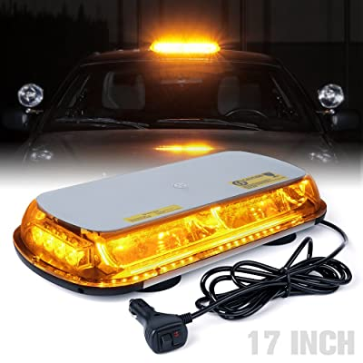 Xprite 17 Inch 44 LED Amber Top Roof Mini Bar Strobe Light High Intensity Law Enforcement Emergency Hazard Flashing Yellow Warning Lights with Magnetic Base for Truck Construction Vehicles Car: Automotive [5Bkhe1000175]