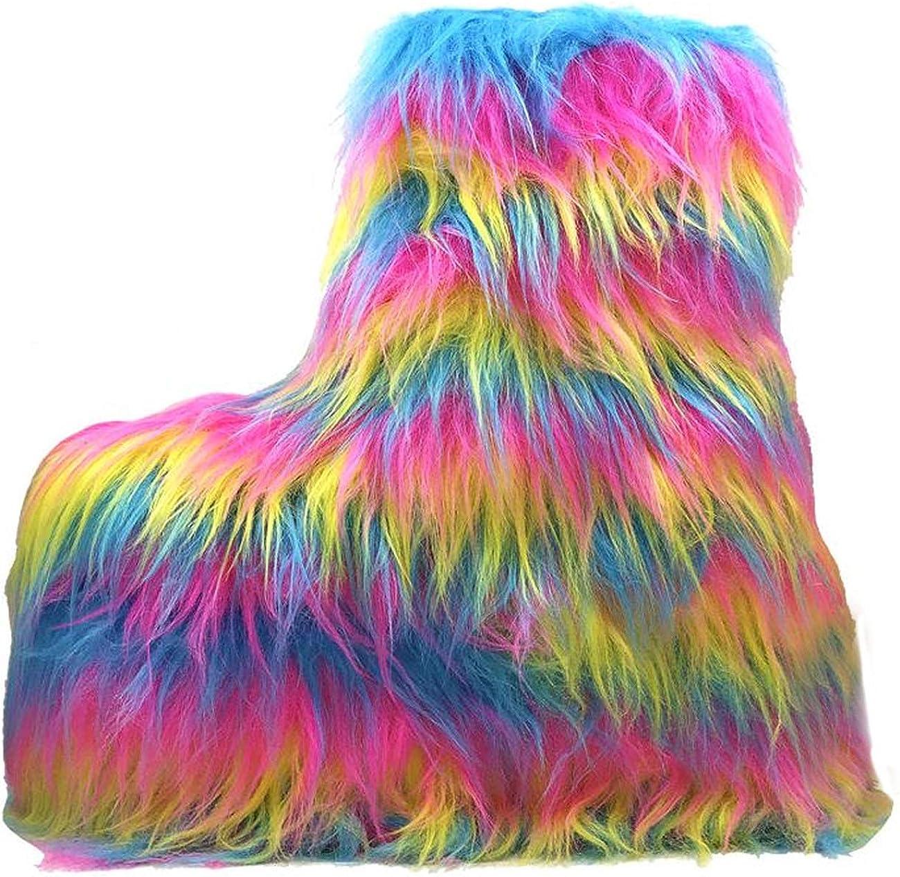 YRU Qomet Faux Fur Pastel Platform Pink