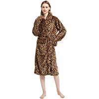 Women's Bathrobe Animal Print Nightdress Pajamas 100% Flannel Hooded Bathrobe Ladies Dressing Gown(Leopard)