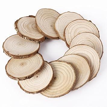 Anladia 75 X Rund Holz Holzscheiben Baumscheiben Anhangeetiketten