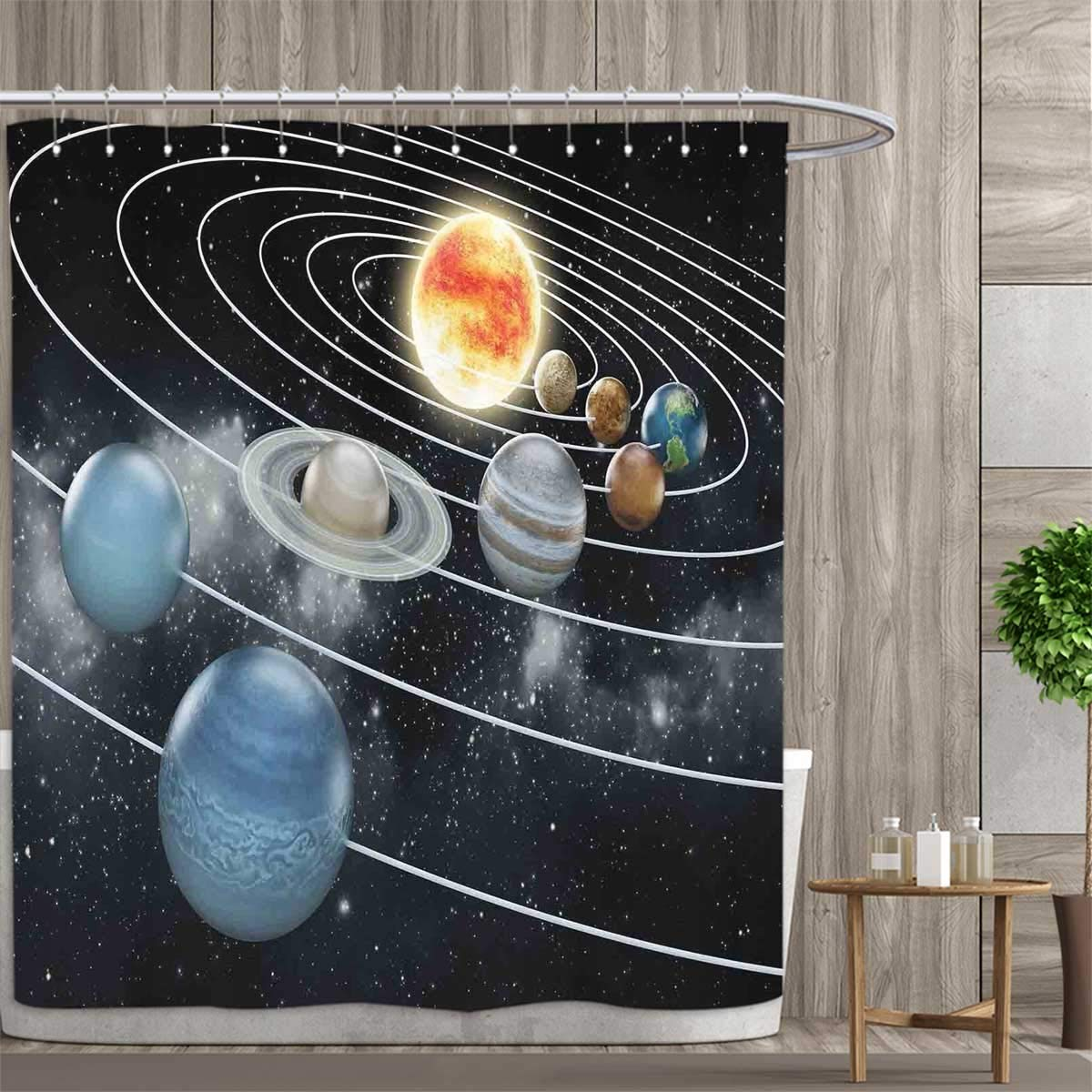 Anniutwo Galaxy Shower Curtains Fabric Solar System All Eight Planets and The Sun Pluto Jupiter Mars Venus Science Fiction Bathroom Decor Set with Hooks 66''x72'' Black Grey