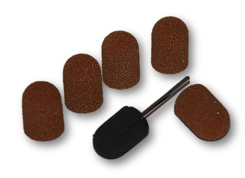 1 Kappenträger + 5 Schleifkappen Set 16 mm Kappenschleifer Gummiträger Fußpflege Nagelpflege kosmetik-direkt24 Set16-KD24