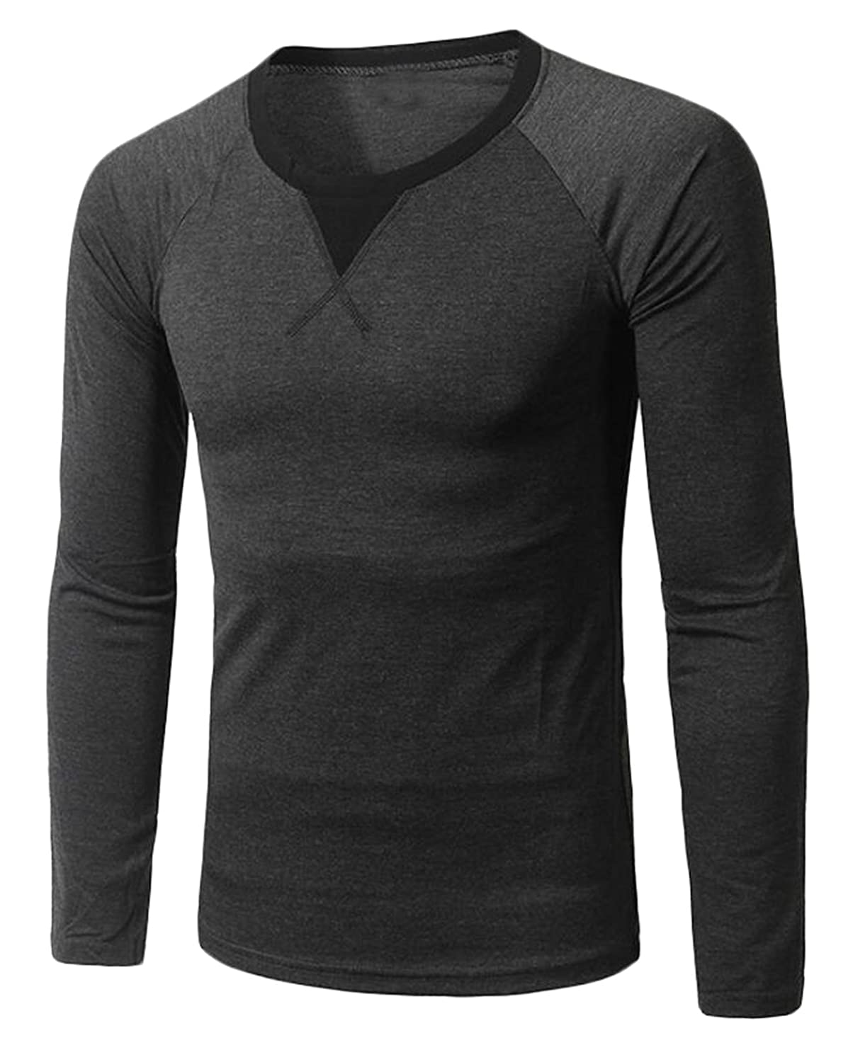 NQ Men's Leisure Hit Color Collar Long Sleeve V Collar T-shirts
