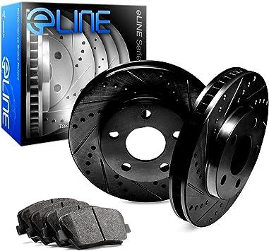 For Chevrolet Express 2500 Front Rear Black Drill Slot Brake Rotors+Ceramic Pads