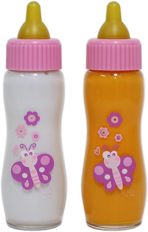 JC TOYS- Accessories Biberones para muñecos, Color Rosa (81060)