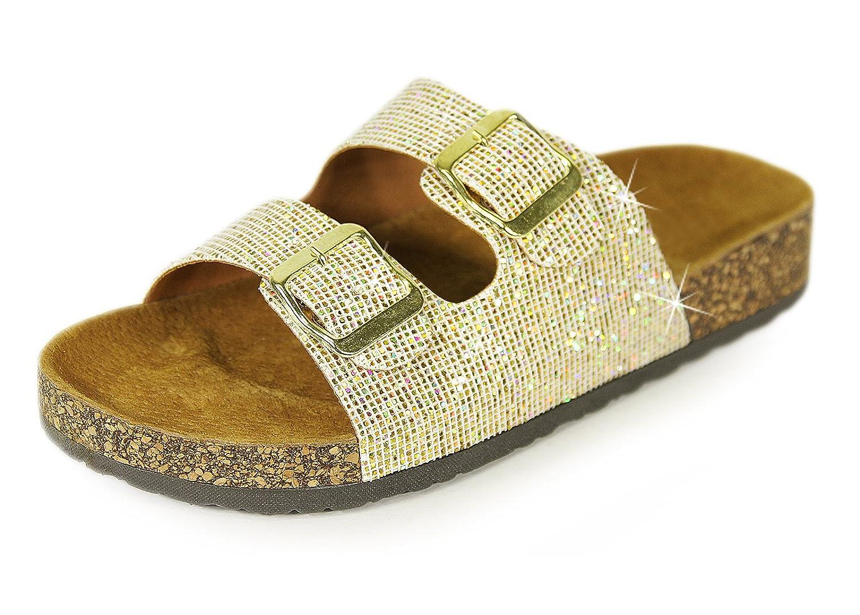 H2K Karen' Women's Fashion Soft [Genuine Leather Foodbed] Slide Sandals Shoes Two Adjustable Straps