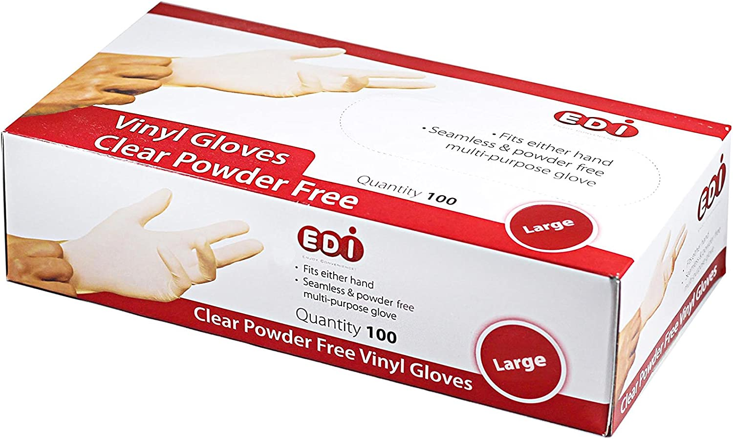 EDI Clear Powder Free Vinyl Glove,4.3 mil,Disposable glove,Industrial Glove,Clear, Latex Free and Allergy Free, Plastic, Work, Food Service, Cleaning,100 gloves per box (1000, large)