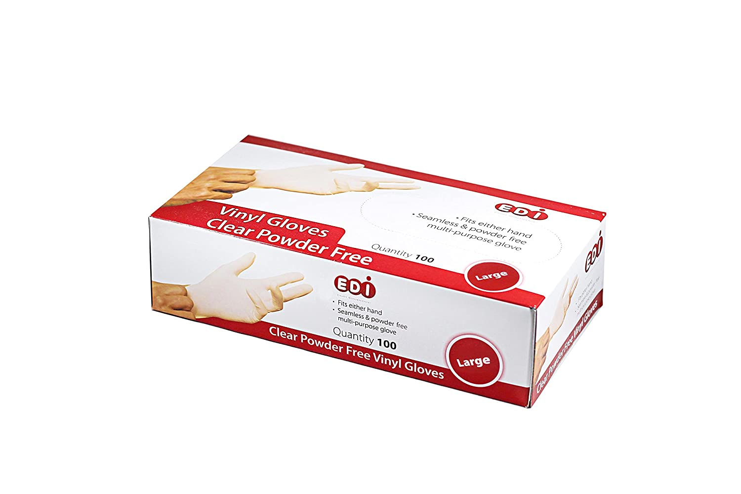 EDI Clear Powder Free Vinyl Glove,Disposable Glove,Industrial Glove,Clear, Latex Free and Allergy Free, Plastic, Work, Food Service, Cleaning,100 Gloves per Box (100, Large)