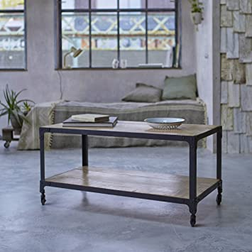 tikamoon industriel table basse mtal noir 100 x 50 x 50 cm