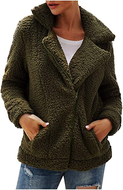 Forthery-Women Fuzzy Fleece Lapel Coat Faux Fur Warm Winter Outwear Jackets