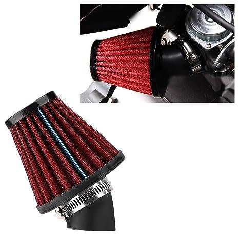 48MM-Red General Motorcycle Curved Air Filter Mushroom Head Air Intake Filter Cleaning