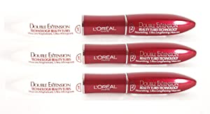 3 x L'Oreal Paris Double Extension Beauty Tubes Technology Black Mascara New