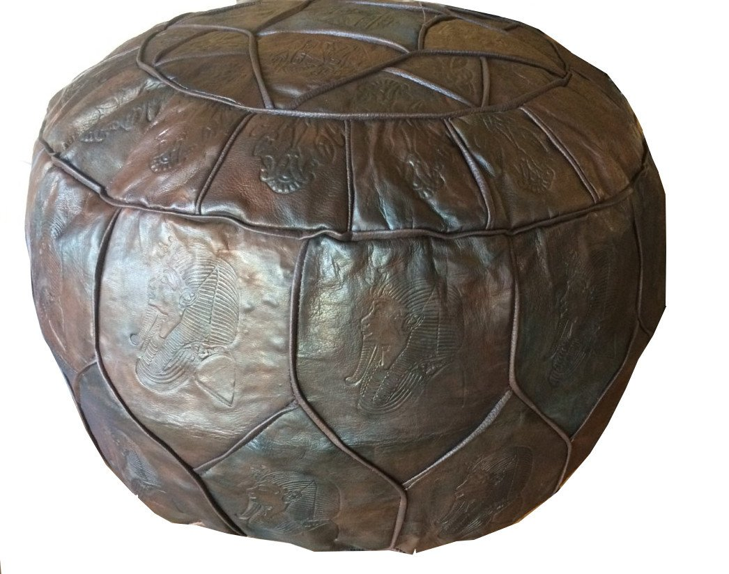 Egyptian Morrocan Handmade Genuine Leather Ottoman Pouf Xl (ARMY) kemet art