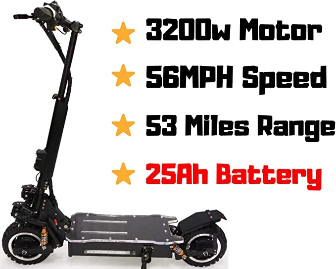 maxx OUTSTORM 56MPH Ultra High Speed Electric Scooter for Adults Foldable, 3200W Dual Motor| 60V 25Ah Samsung Battery | 52 Miles Range | Climbing ...