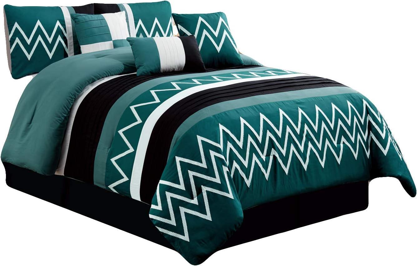 7-Pc Jordan Embroidery Pleated Stripe Comforter Set Blue White Black Gray Queen