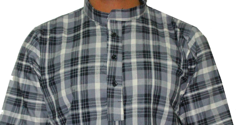 Indian 100/% Cotton Men Check print Kurta Shirt Plus Size loose fit Black Color Half Sleeve