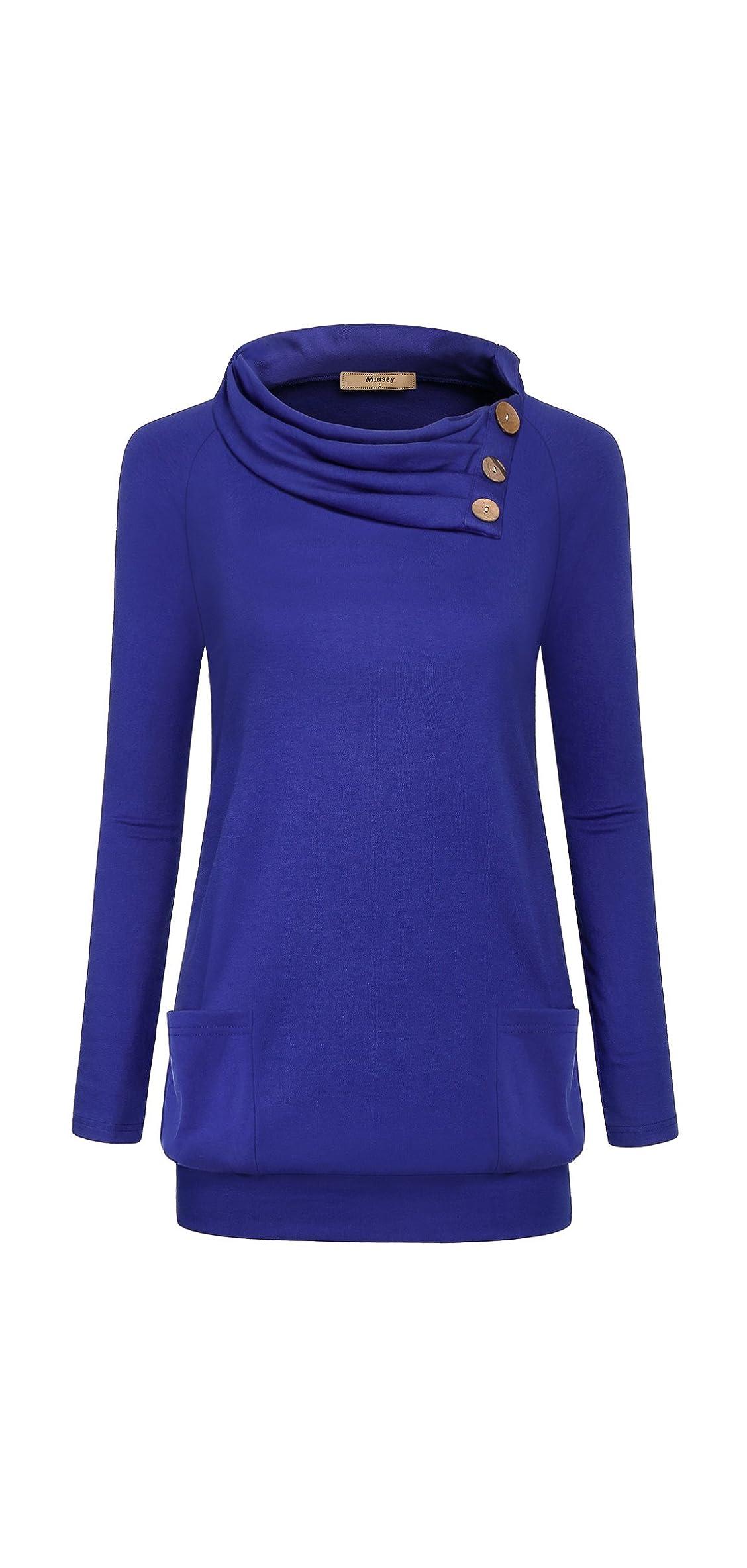 Womens Raglan Long Sleeve Cowl Neck Pullover Casual Tunic