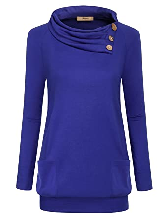 5d3dace08f9 Miusey Petite Tops,Ladies Cowl Neck Shirt with Buttons Trim Elegant Form  Fitting Long Sleeve