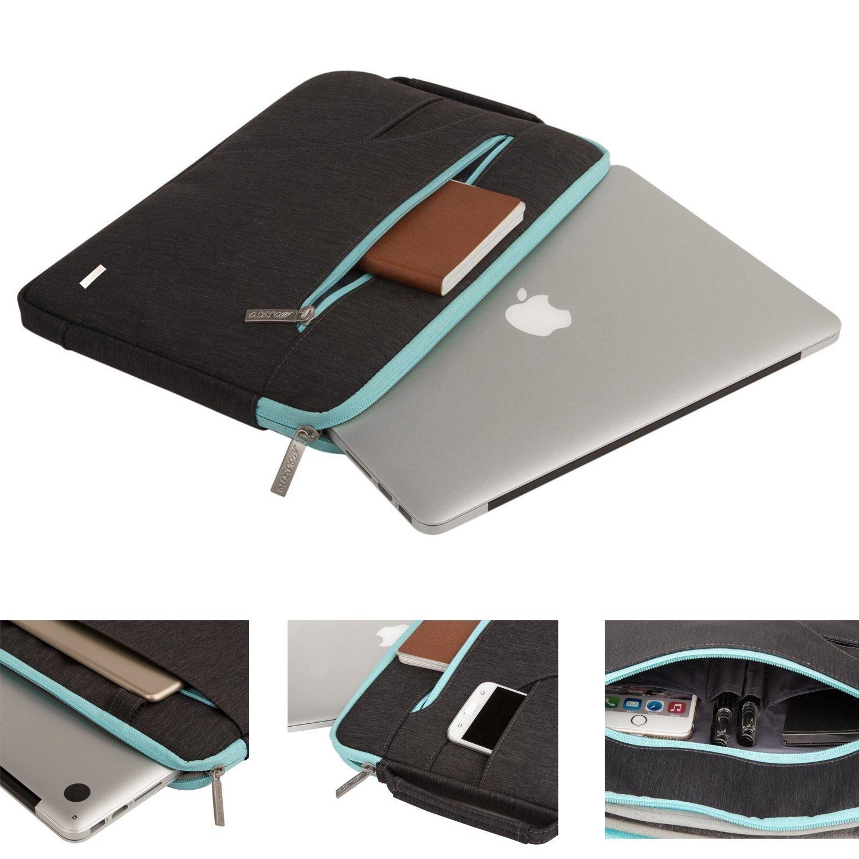 Polyester Ultraportable Protective Briefcase Carrying Handbag Sleeve Case Cover MOSISO Laptop Shoulder Bag Compatible 15-15.6 Inch MacBook Pro Ultrabook Netbook Tablet Black /& Hot Blue