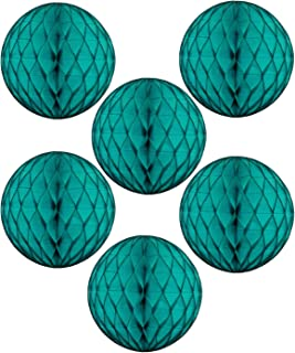 """product image for 12"""" Honeycomb Tissue Paper Ball Decoration (6-Pack, Teal Green)"""