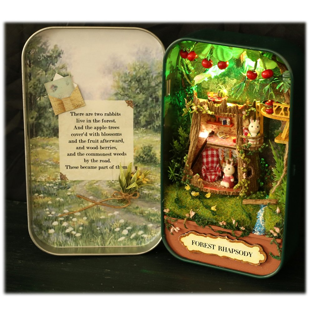 MAGQOO 3D Wooden Dollhouse Miniature DIY Doll House Kit with Furniture,1:24 DIY Box Theater Kit Countryside Notes