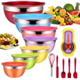 Mixing Bowls with Airtight Lids, 25 piece Stainless Steel Nesting Colorful Mixing Bowls Set with 7 Size - 7, 6, 5, 4, 3, 2, 1