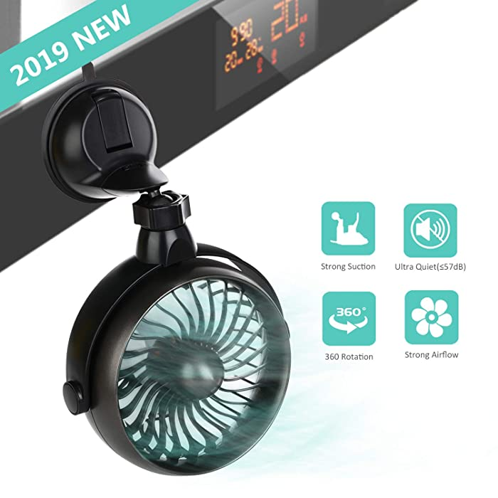 Battery Operated Kitchen Fan with Suction Cup, 2000mAh Capacity Rechargeable Wall Fan, Personal USB Fan with Strong Airflow, 4 Speeds, 360°Rotation, Must Have for Kitchen Cooking In Summer