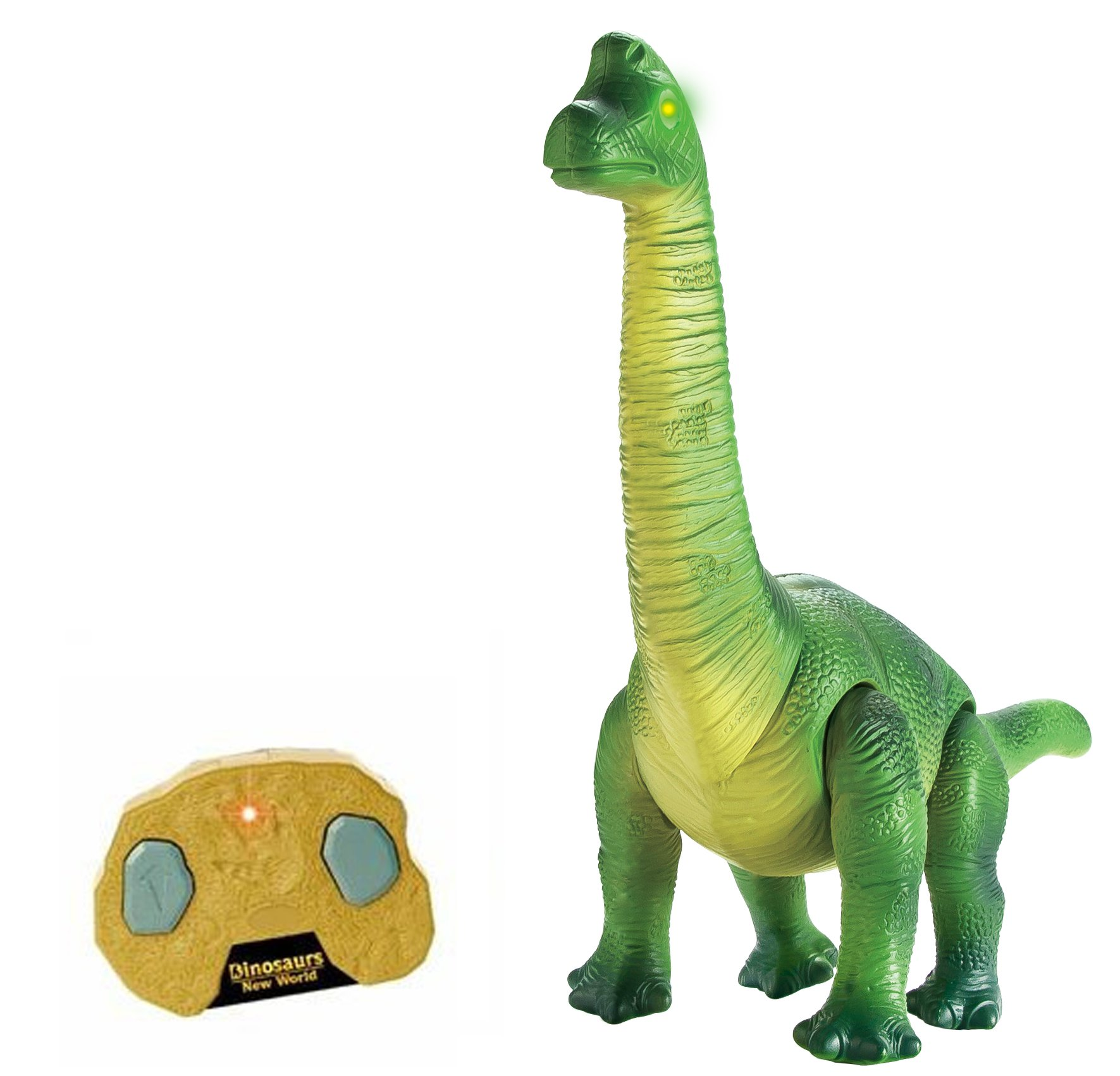 Liberty Imports Dino Planet Remote Control R/C Walking Dinosaur Toy with Shaking Head, Light Up Eyes and Sounds (Brachiosaurus)