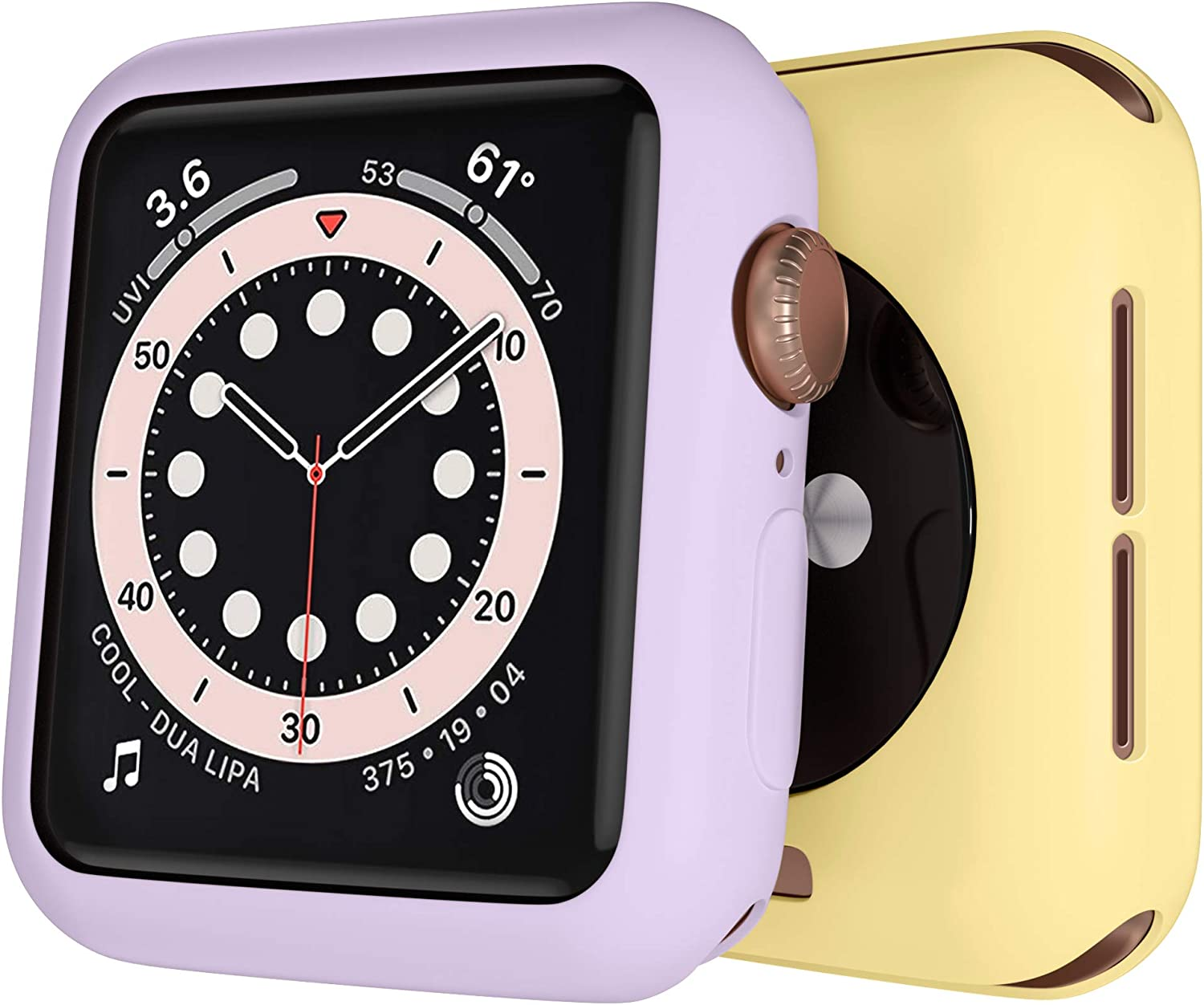 [2 Pack] GEAK 38mm Case Compatible for Apple Watch Series 3, Premium TPU Protective Case Lightweight Bumper Cover for iWatch Series 3/2/1, Milk Yellow/Lavender