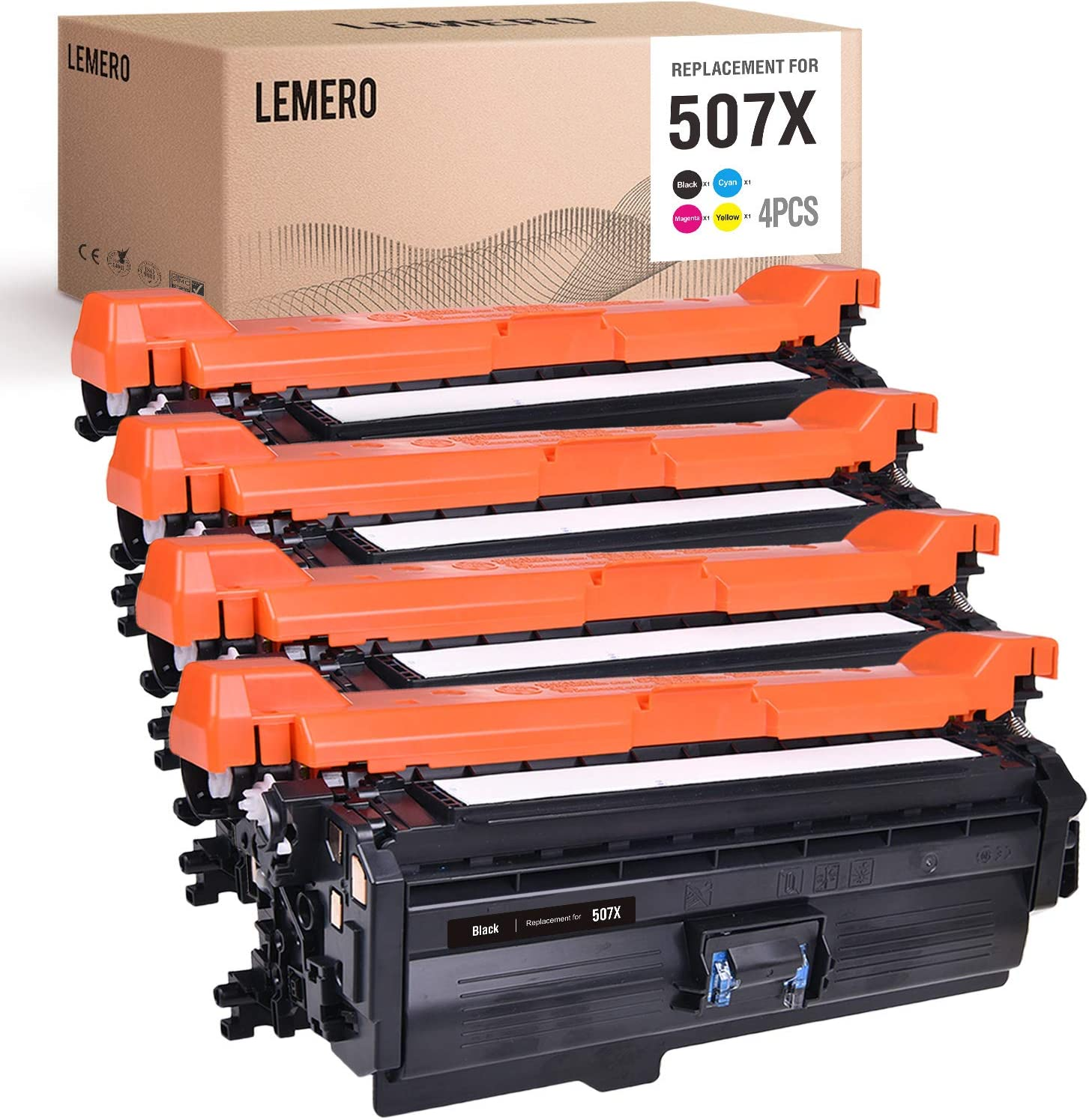 LEMERO Compatible Toner Cartridge Replacement for HP 507A 507X CE400X CE401A CE402A CE403A to use with Laserjet Enterprise 500 Color M551n M570dn M551dn (Black, Cyan, Magenta, Yellow, 4-Pack)
