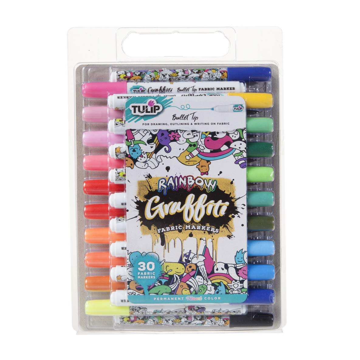Tulip Graffiti Fabric Markers, 30 Pack - Bullet Tip, Rainbow by Tulip