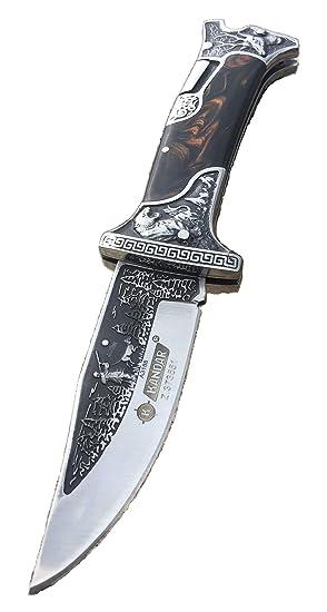Precioso cuchillo de caza Auvex - cuchillo plegable – cuchillo de cazador con estampado de cazador y perro