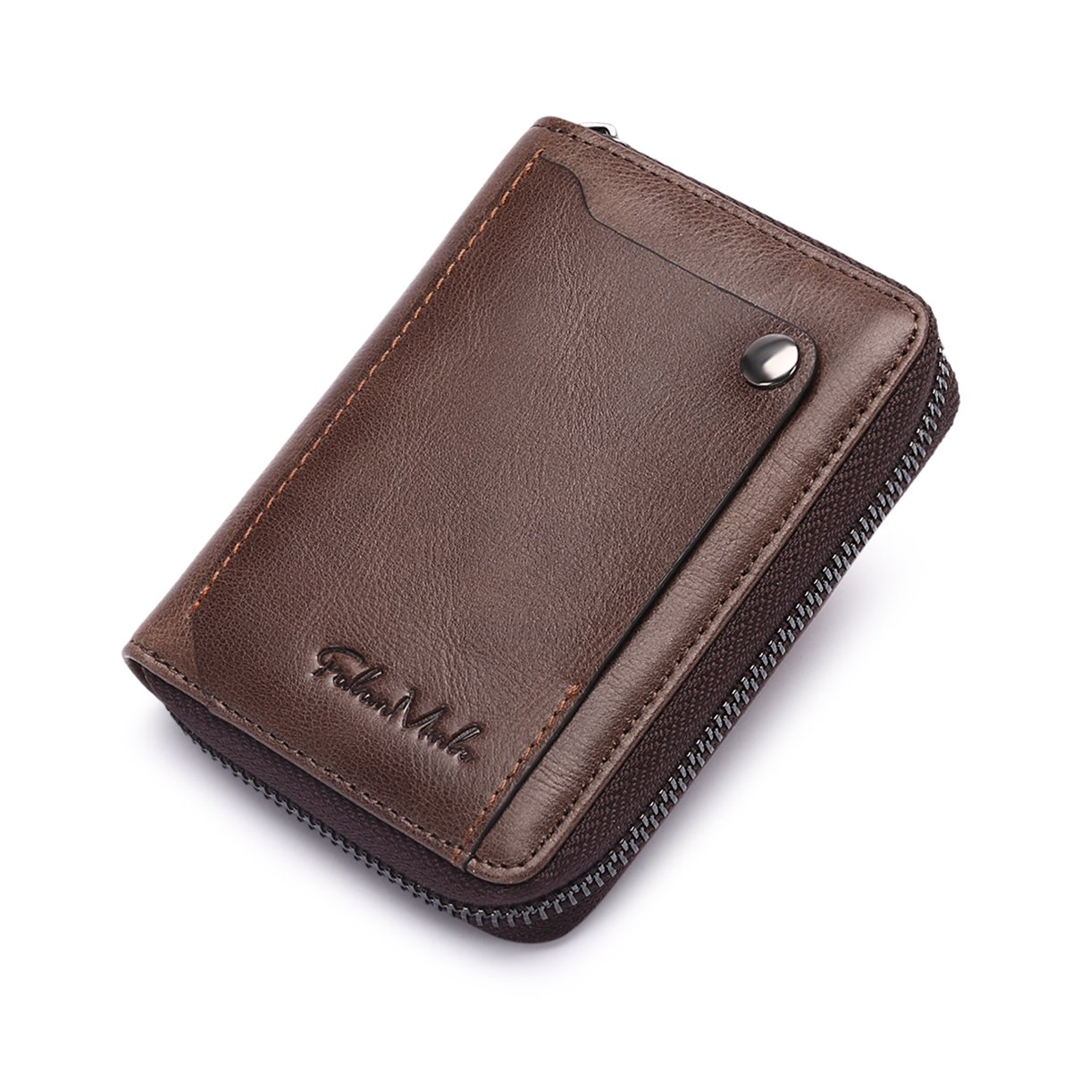 Slim Bifold RFID Blocking Men Wallet Leather Front Pocket Compact Design Zipper Closure Minimalist by Falan Mule (Image #1)