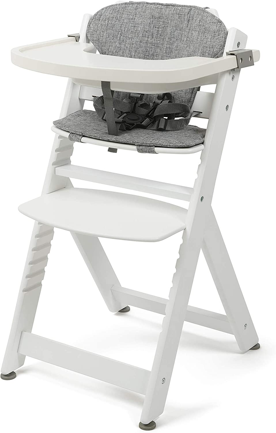 with Free Comfy seat Liner White BABYLO Grow with Me Wooden Highchair