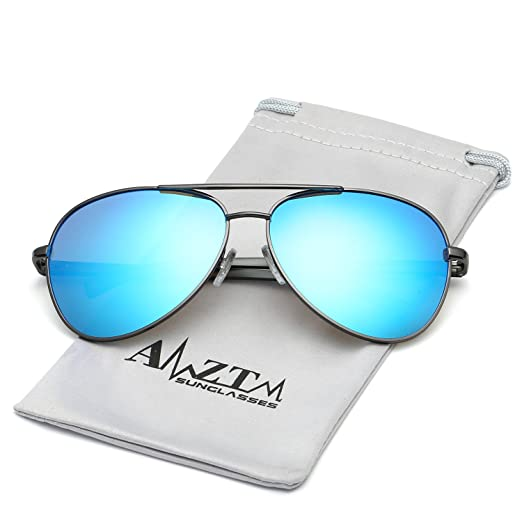 602341b9d5 Amazon.com  AMZTM Classic Double Bridge Fashion Al-Mg Metal Frame Flash  Mirror REVO Lens Reflective Retro Polarized Aviator Sunglasses for Women  and Men ...