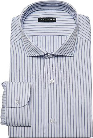 Angelico Camisa de Hombre Manga Larga - Cuello Francés - Slim Fit - 100% Algodón: Amazon.es: Ropa y accesorios