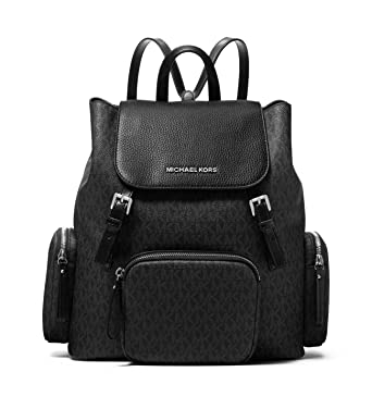 1fd29c346ff2 Amazon.com: Michael Kors Abbey Large Signature Cargo Backpack (Black):  Clothing