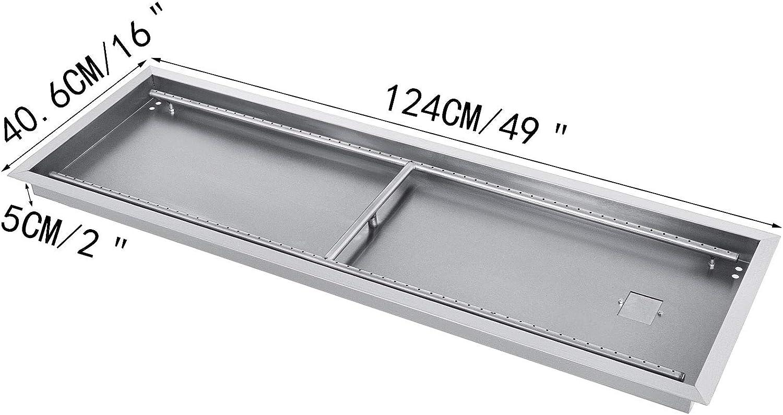 128,2 x 41,9 x 5,0 CM Chimenea Barbacoa Exterior Brasero Port/átil de Mesa de Gas Propano Exterior Metal para Aire Libre Brasero VEVOR Mesa Rectangular de Hoguera Brasero Exterior para Chimenea