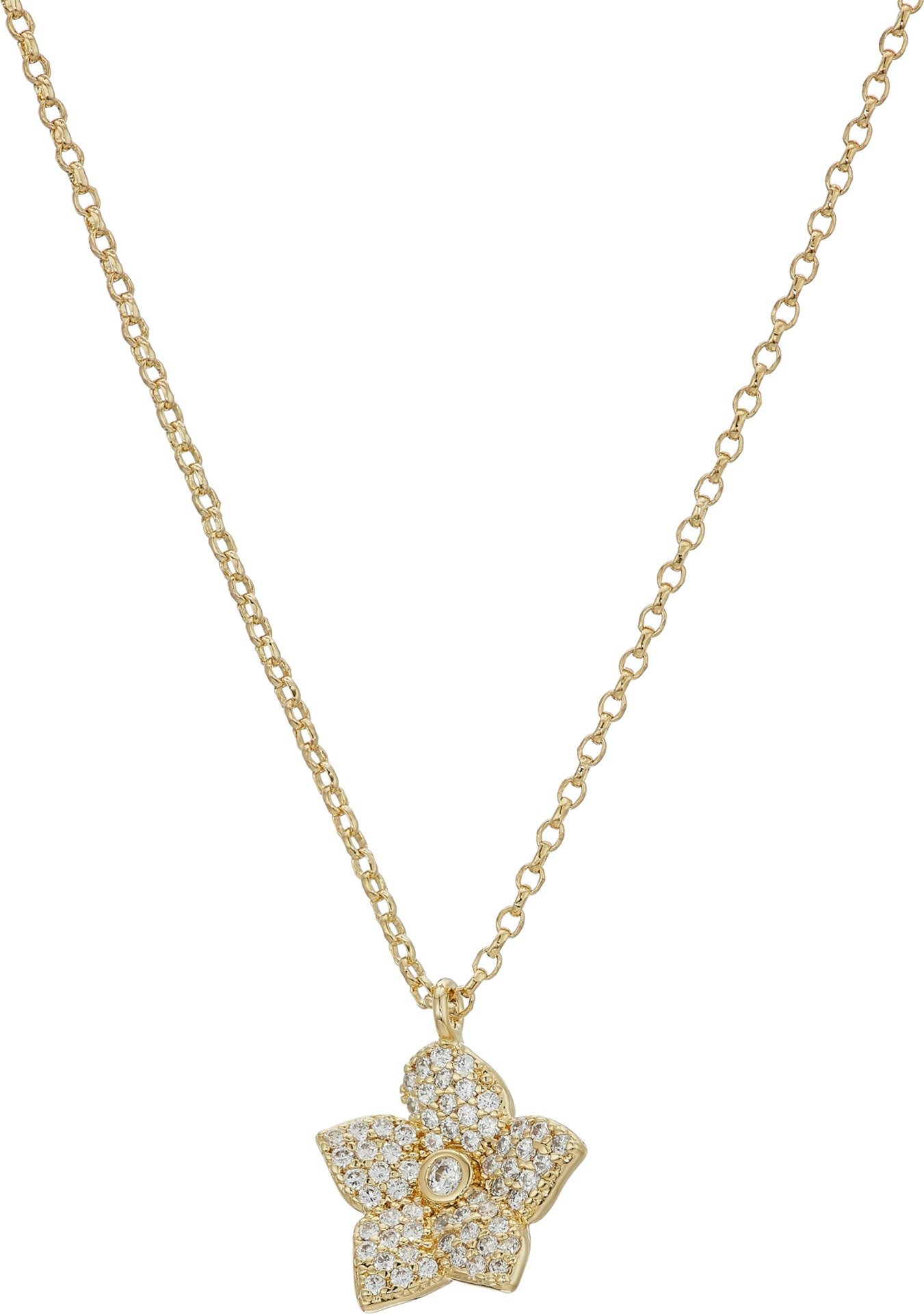 Kate Spade New York Women's Blooming Pave Bloom Mini Pendant Necklace Clear/Gold One Size