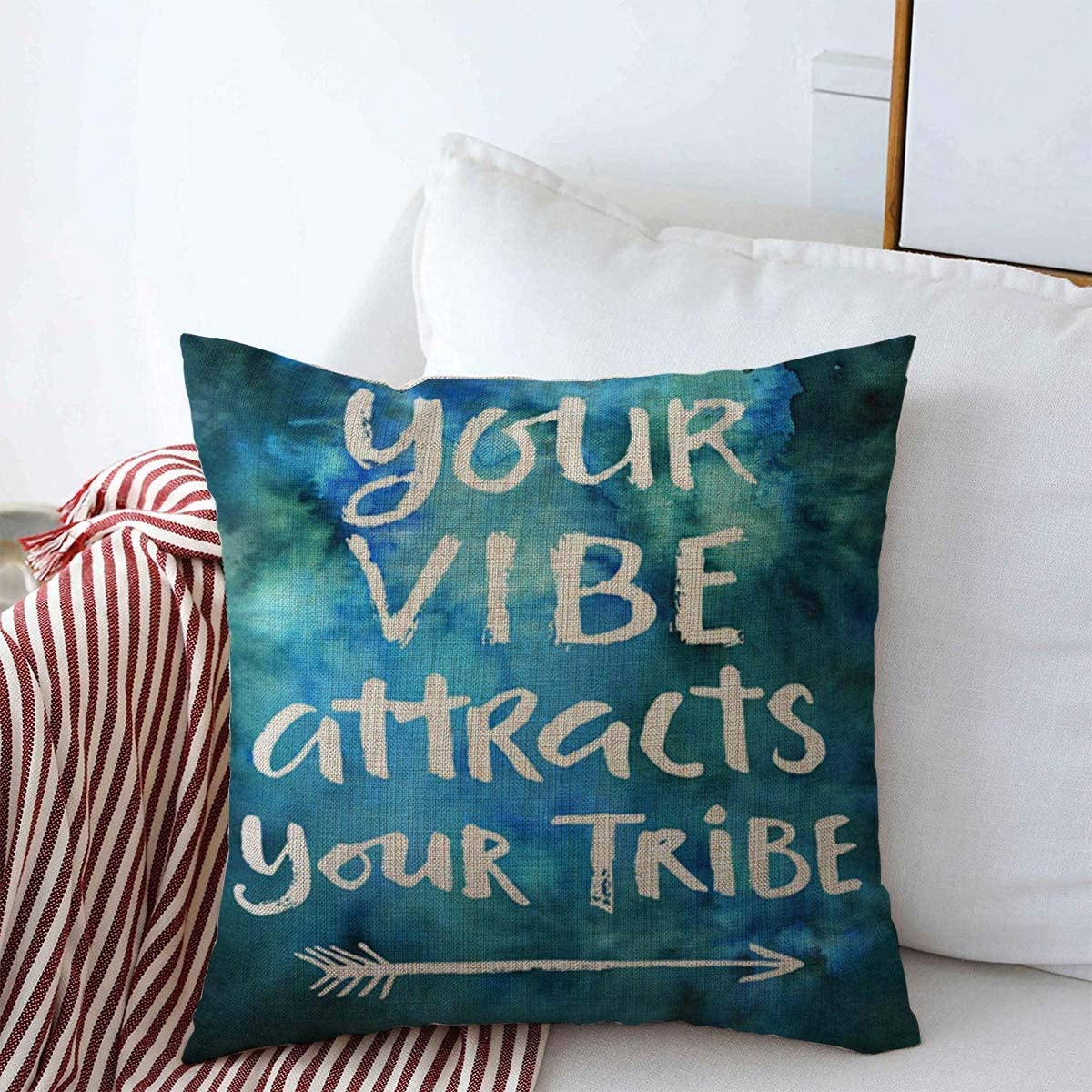 Amazon Com Staromay Throw Pillow Covers Text Watercolor Positive Your Vibe Attracts Tribe Quotes Hand Blue Best Abstract Amazing Artistic Cushion Case Linen Square Pillowcase For Home Decor 18 X 18 Home
