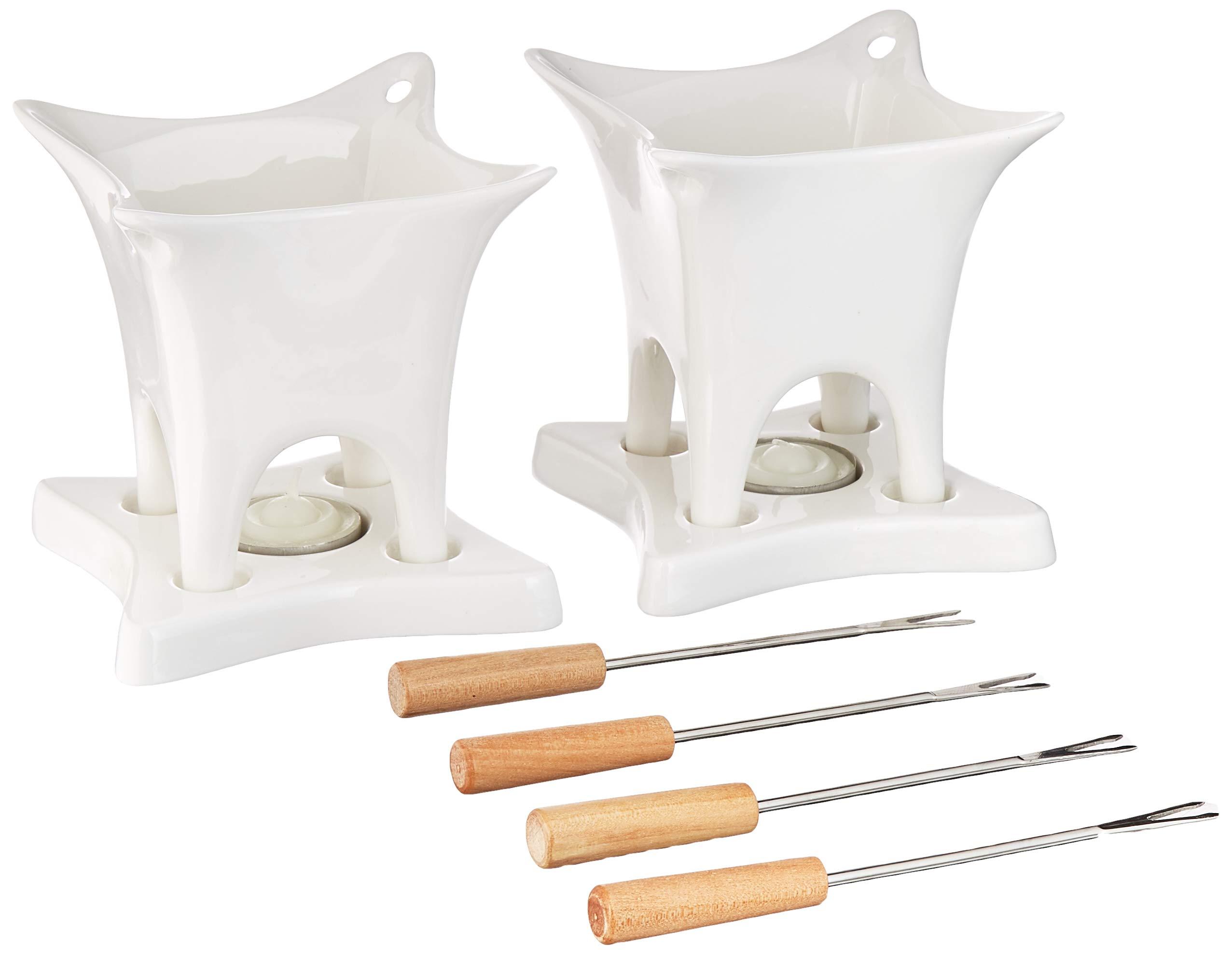 Swissmar F66202 Harmony 10 piece Dual Fondue & Butter Warmer Set, 10Piece, White by Swissmar
