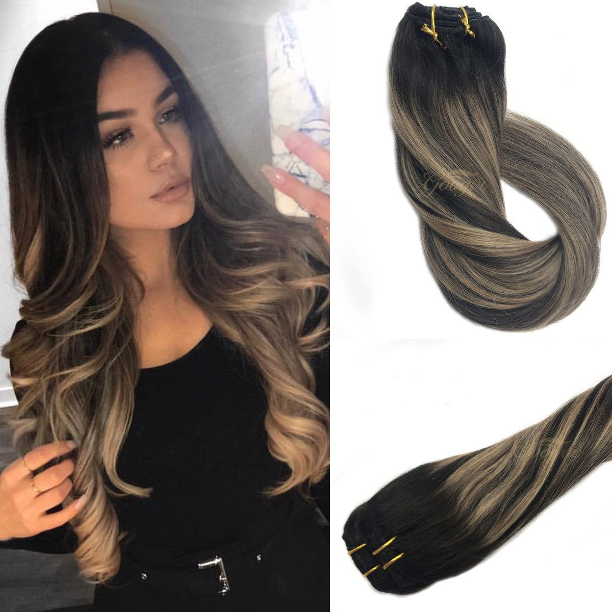 Amazon Googoo Remy Ombre Clip In Hair Extensions Dark Brown 2
